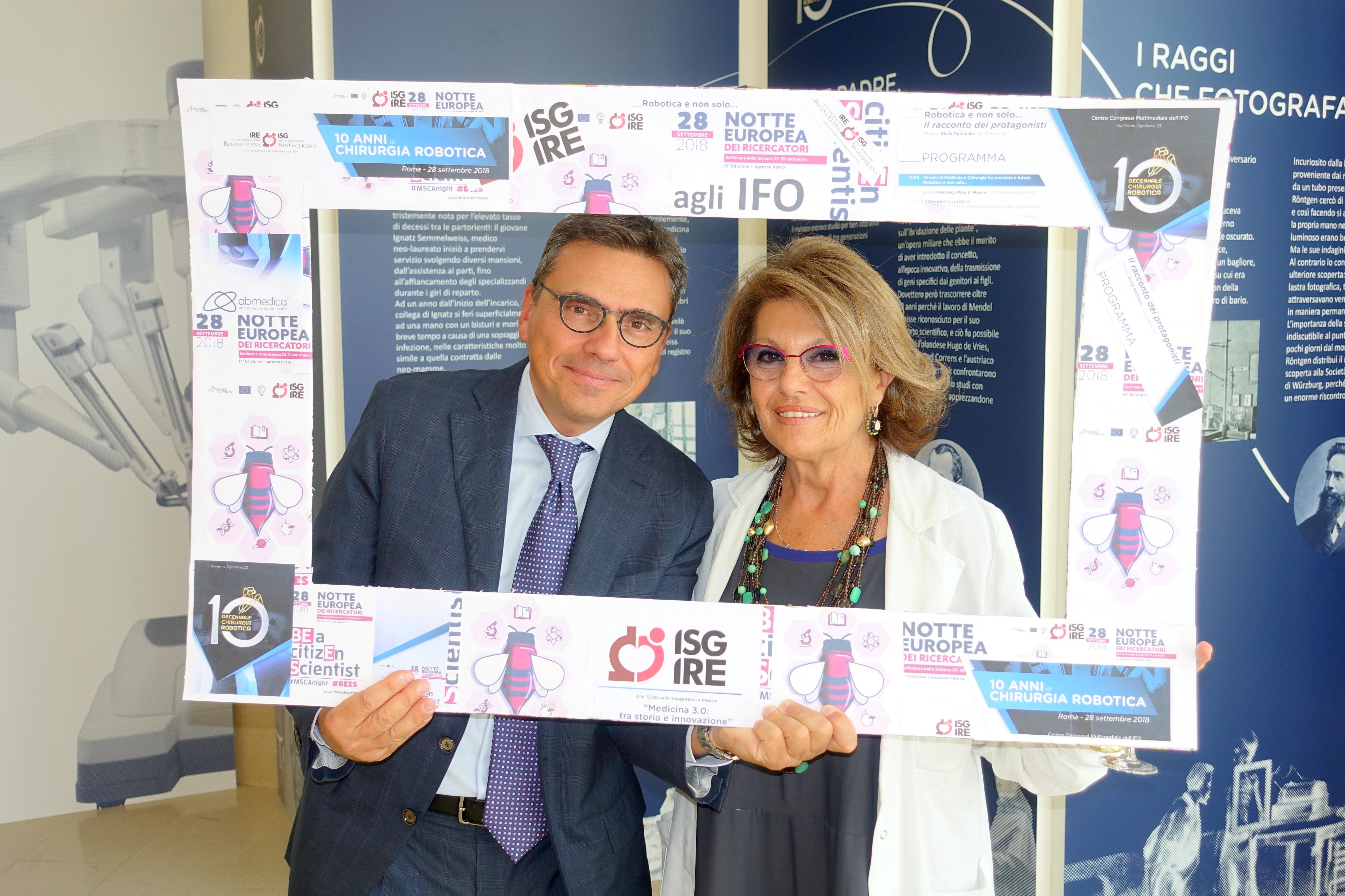 Dr. Vizza e Dott.ssa Forastieri alla mostra sulla chirurgia robotica