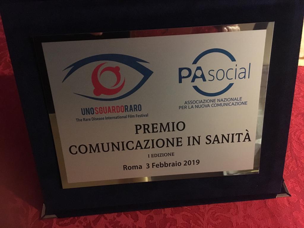 La targa del premio comunicazione in sanità 2019