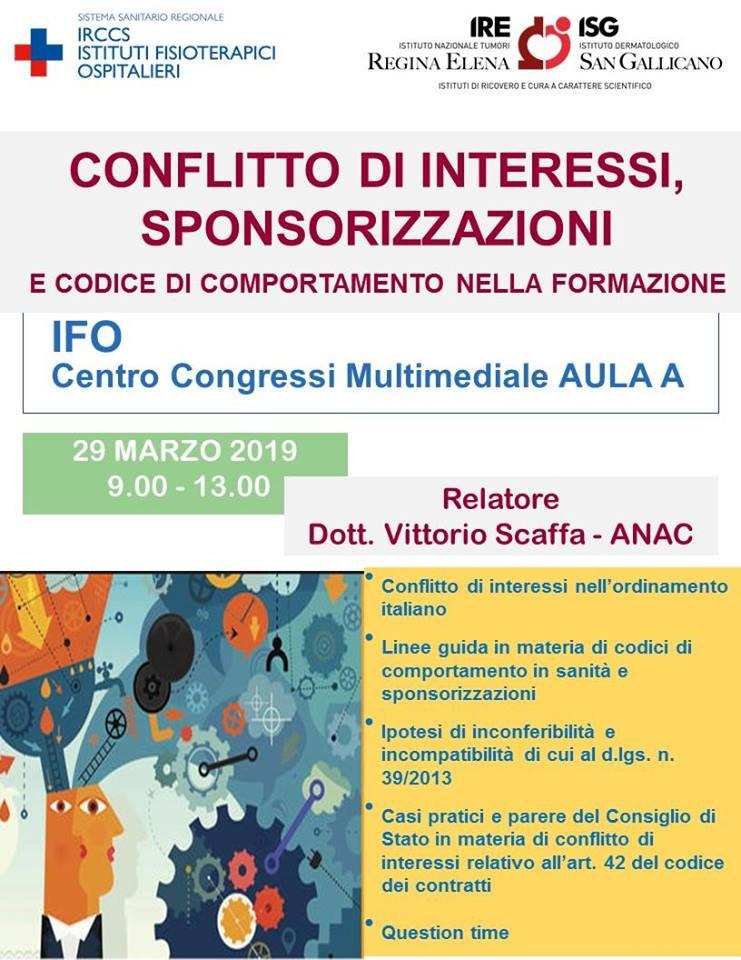 Locandina del corso su conflitto di interessi e sponsorizzazioni