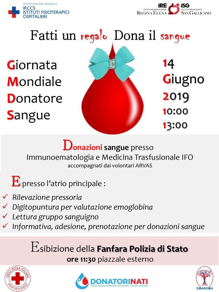 Locandina della giornata mondiale della donazione sangue 2019