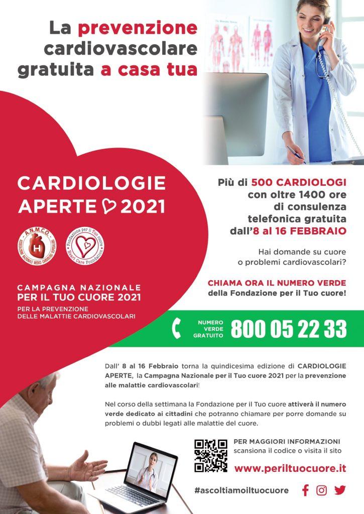 Locandina campagna cardiologie aperte 2021
